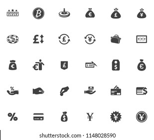 Money Icons, Money cash icons set - banking investment sign and symbols