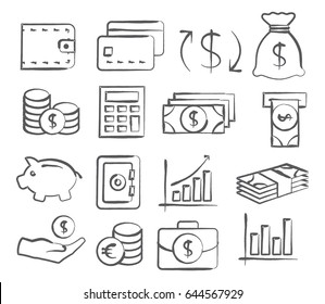 Money Icons in doodle style