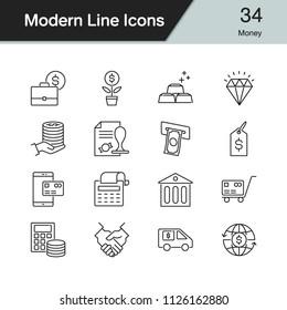 Money icons. Modern line design set 34. For presentation, graphic design, mobile application, web design, infographics. Vector illustration.