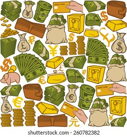 money icons seamless pattern (bag with coins, safe, bullion, banknotes roll, credit card)