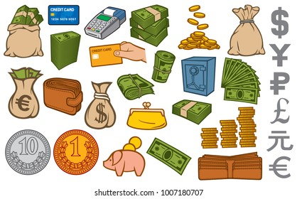 money icons set (credit card terminal, bag, safe, stacked coins, piggy bank, gold brick, leather wallet)
