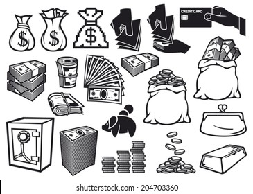 money icons set (finance or banking symbols, bag with coins, safe, bullion, banknotes roll, credit card, old purse)