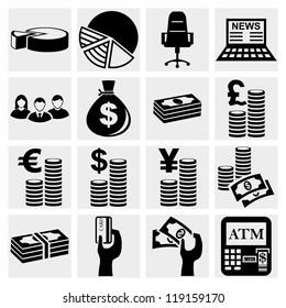Money icons set .Finance icon set. Vector
