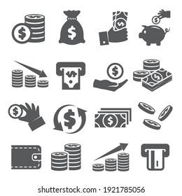 Money icons set on white background