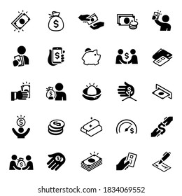 Money Icons stock illustration. cash, money sack, purchasing, buying,  coins, currency, dollar sign, person holding money, money on phone, piggy bank, credit card, wallet.