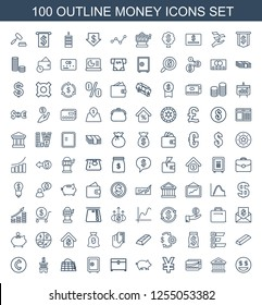 money icons. Trendy 100 money icons. Contain icons such as dollar smiley, bank, card, yuan, pig, chest, Safe, move on map, coin, gold, statistic. money icon for web and mobile.