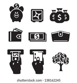 Money icons vector set