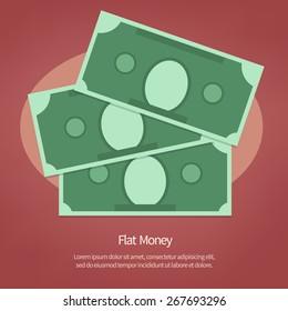 Money illustration. Vector paper Dollars on red background. Flat design style
