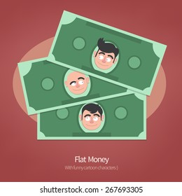 Money illustration. Vector paper Dollars with funny characters. Cartoon Flat design style.