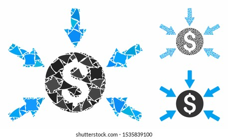 Money income composition of rugged parts in different sizes and shades, based on money income icon. Vector joggly parts are united into collage. Money income icons collage with dotted pattern.