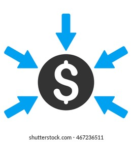 Money Income icon. Vector style is bicolor flat iconic symbol with rounded angles, blue and gray colors, white background.