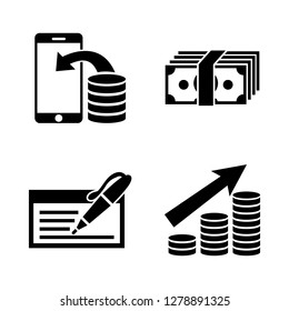 Money Investing. Simple Related Vector Icons Set for Video, Mobile Apps, Web Sites, Print Projects and Your Design. Money Investing icon Black Flat Illustration on White Background.