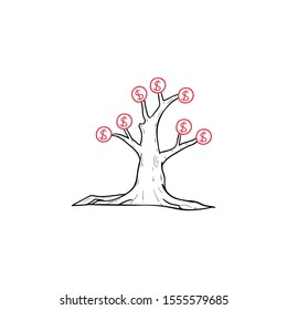 Money Investment tree doodle icon vector hand rawing