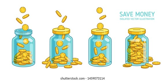 Money Jar or Coin box savings coins and accumulated - minimalistic vector icons isolated on white. Accumulate and save your money dollar in jar. Flat vector coins illustration