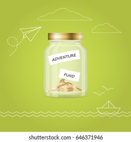 Money jar with coins. Travel fund. Financial concept.