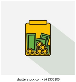 Money In Jar Flat Style With Long Shadow Illustration