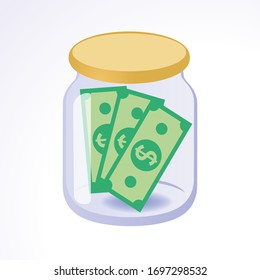 Money in jar. Investing and keeping money.