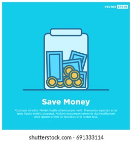 Money In Jar Line Style Save Money Concept With Text Box Template