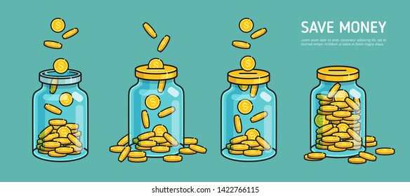 Сoncept Money Jar or Moneybox savings  falling coins. Accumulate and save your money dollar in jar. Flat line vector illustration