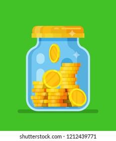 Money Jar. Saving dollar coin in jar. concept vector illustration Flat design style vector illustration. Saving money jar.