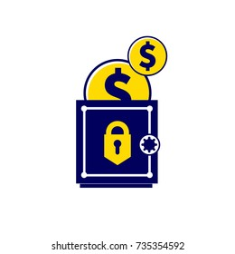 Money is kept safe. Trend illustration in a flat style for your design. Isolated on white