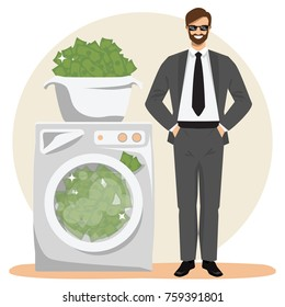 Money laundering concept vector illustration. Happy businessman with hands in pockets standing next to washer full of dirty illegal money. Bribery, corruption theme.