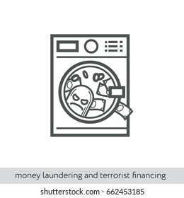 Money laundering and terrorist financing. Vector thin line icon for infographics and print design