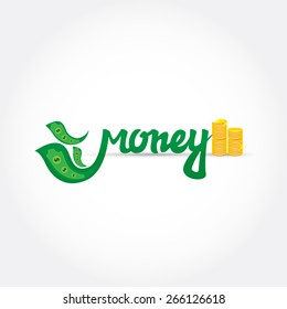 Money lettering logo. Green letters with gold coins. Logotype template for branding and design. Vector illustration.