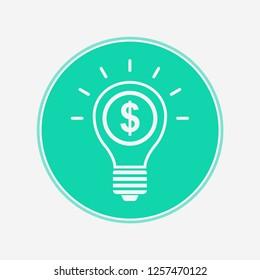 Money light bulb vector icon sign symbol