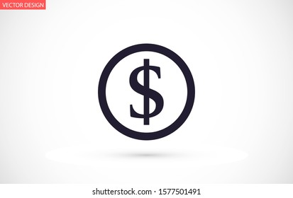 Money Line Icon Vector. Payment system. Coins and Dollar cent Sign isolated on white background.Money Line Icon VectorFlat design style.Money Line Icon Vector Business concept oin
