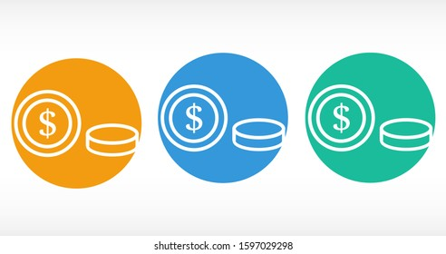 Money Line Icon Vector. Payment system. Coins and Dollar cent Sign isolated on white background Money Line Icon Vector. Flat design style. Money Line Icon Vector Business concept.