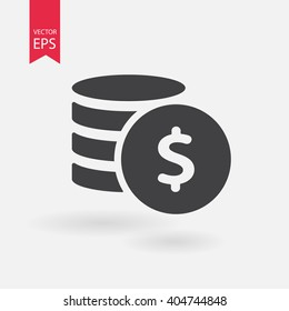 Money. Line Icon Vector. Payment system. Coins and Dollar cent Sign isolated on white background. Flat design style. Business concept.