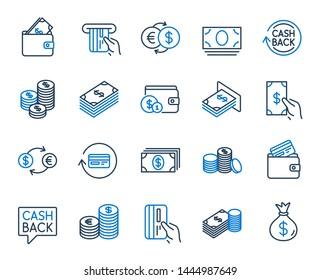 Money line icons. Set of Banking, Wallet and Coins icons. Credit card, Currency exchange and Cashback money service. Euro and Dollar, Cash wallet, exchange. Banking credit card, atm payment. Vector