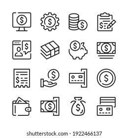 Money line icons set. Modern graphic design concepts, simple outline elements collection. Vector line icons