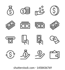 Money line icons set vector illustration. Contains such icon as money bag, coins, credit card, wallet and more. Editable stroke