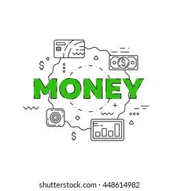 Money line illustration. Line flat design for website. White modern banner.