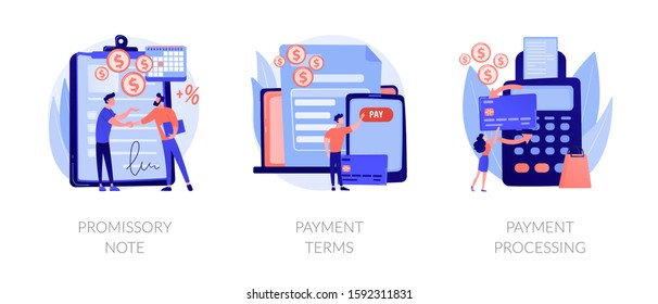 Money loan contract, exchange bill, online banking service, cash withdrawal icons set. Promissory note, payment terms, payment processing metaphors. Vector isolated concept metaphor illustrations