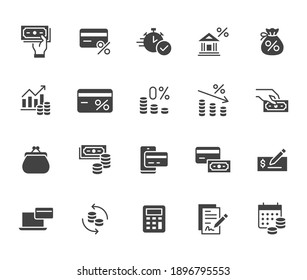 Money loan flat icon set. Credit score, low interest, discount card, mortgage percent, tax black minimal silhouette vector illustration. Simple glyph signs for bank application.