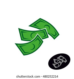 Money logo. Falling or flying dollar notes simple illustration. Finance icon.
