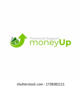 Money logo vector design. Cashback service logo template. Business and finance icon. Money with arrow up. Currency. Financial support