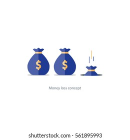 Money loss concept, falling sack in hole, financial expenses, budget planning, fund downfall vector illustration