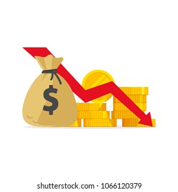 Money loss vector illustration, flat cartoon cash with down arrow stocks graph, concept of financial crisis, market fall, bankruptcy, budget recession, investment expenses, bad economy reduction