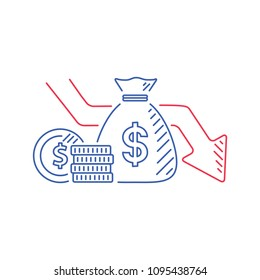 Money loss vector illustration in flat cartoon cash with down arrow stocks graph, concept of financial crisis, market fall bankruptcy or budget recession. Investment expenses and bad economy reduction