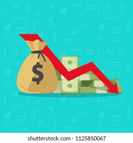 Money loss vector illustration, flat cartoon paper cash with down arrow stocks graph, concept of financial crisis, market fall, bankruptcy, budget recession, investment expenses, bad economy reduction