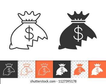 Money lost black linear and silhouette icons. Thin line sign of financial loss. Hole in moneybag outline pictogram isolated on white, transparent. Vector Icon shape. Money lose simple symbol closeup