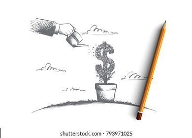 Money making concept. Hand drawn human hand watering growing symbol of dollar. Success investment isolated vector illustration.