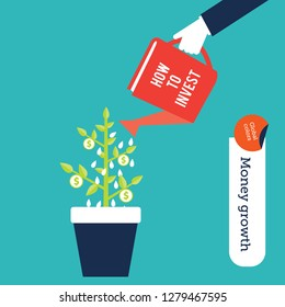 Money making concept, human hand watering a  plant with a book to bring in success in investments. Isolated vector illustration