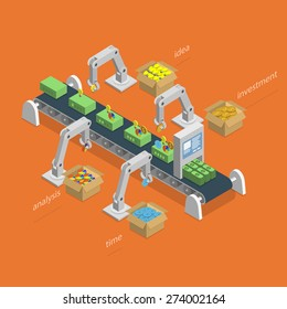Money Making Process Concept. Robotized Conveyer For Making Money.  Robots Assemble Money Using Idea, Analysis, Investment And Time Items. Isometric Vector Illustration.