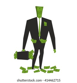 Money man. Dollar  Monster. human wite cash. Bundle of dollars. Businessman rich. Case with legal tender. wealthy boss. Sack of currency for head. finance person
