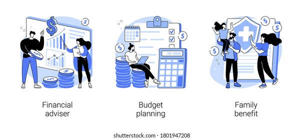 Money management abstract concept vector illustration set. Financial adviser, budget planning, family benefit, investment, financial plan, tax strategy, piggy bank, child payment abstract metaphor.